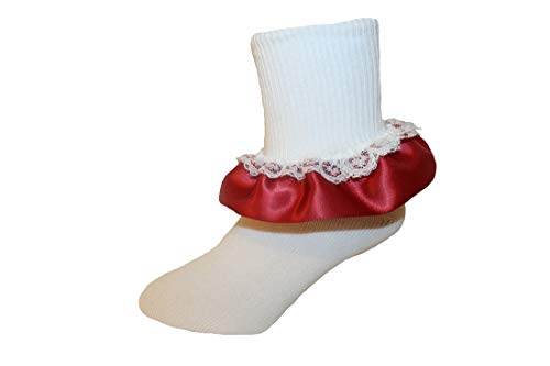 (Girls Ruffle Ankle Socks with Satin & Lace in Assorted Colors (7-8.5 Girls, Burgundy))