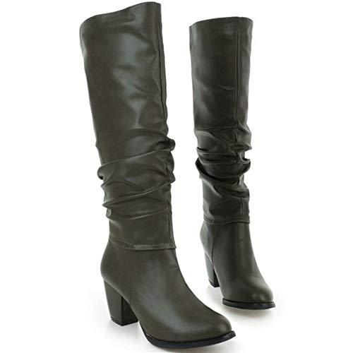 Slouchy Femmes Talon Longue Bottes Vert À Taoffen Hauts Boots UAOq4wnn5