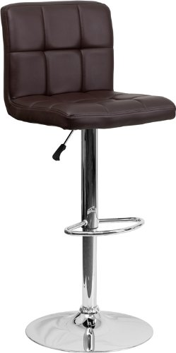 Antique Brass Bar Stool (Flash Furniture 2 Pk. Contemporary Brown Quilted Vinyl Adjustable Height Barstool with Chrome Base)