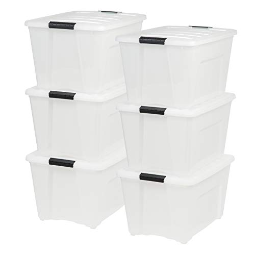 (IRIS USA, Inc TB-56D 53 Quart Stack & Pull Box, Multi-Purpose Storage Bin, 6 Pack, Qrt, Natural/Black)