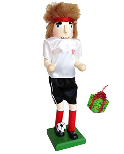 Distinctive Designs Soccer Player Large Unique Decorative Holiday Season Wooden Christmas Nutcracker & Bonus Tree Ornament