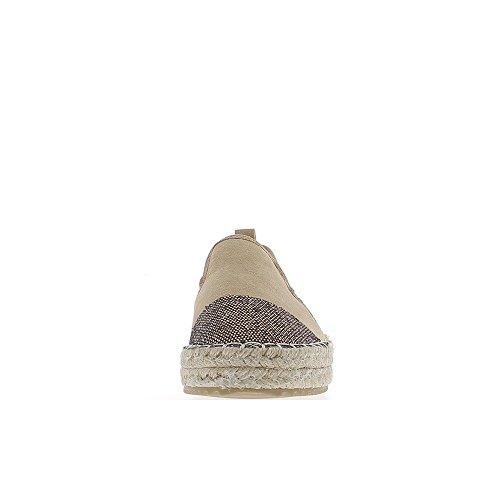 ChaussMoi Zapatillas Mujer Camel Suede y Punta de Aspecto Brillo