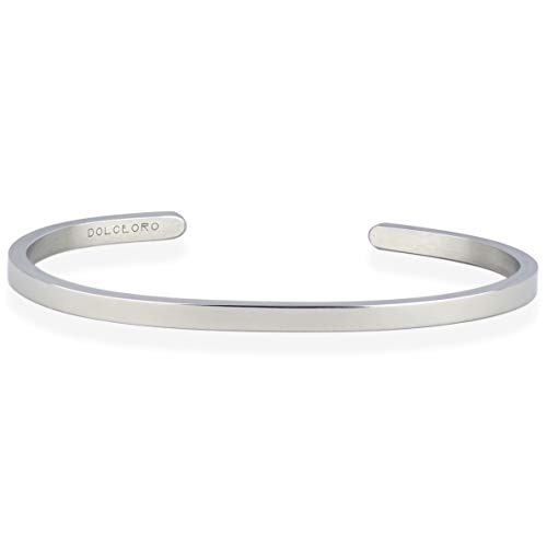 Cuff 3mm (Dolceoro Mantra Bracelet Jewelry - Blank 3mm Wide, Shiny Finish 316L Surgical Steel)