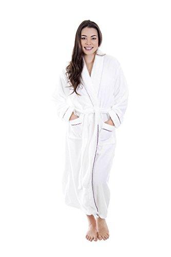 Fur Satin Robe - Mens Bathrobe Soft Plush Coral Velvet Spa Bathrobe Kimono Robe,White/Purple