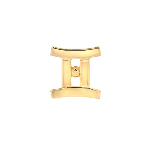 14k Fine Yellow Gold High Polish Trendy Gemini Zodiac Post Single Earring (14k Zodiac Earrings)
