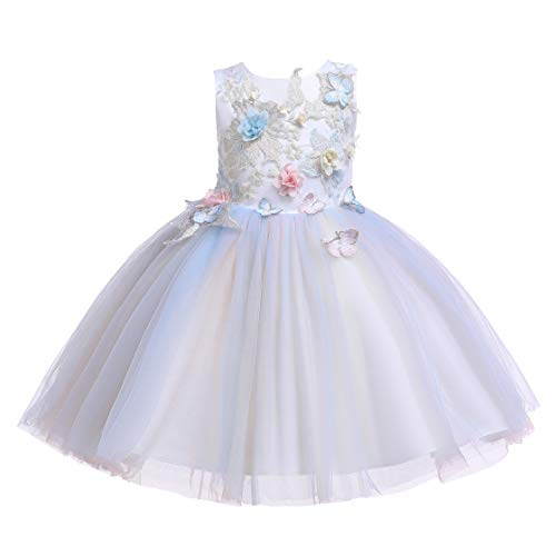 Glamulice Flower Girls Costume Cosplay Dress 3D Embroidery Butterfly Rainbow Tulle Princess Party Dresses 3-14Y (7-8Y, Ivory + Rainbow)]()