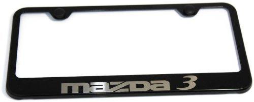 Vinyl USA Mazda 3 Mazda3 Logo Plate Frame Black Powder Metal Steel Authentic