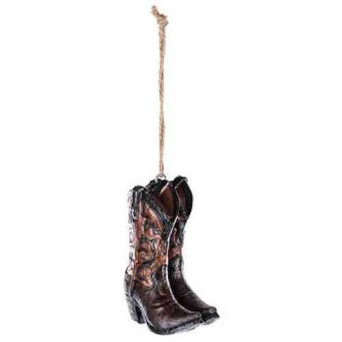 Cowboy Boot Christmas Ornament - Coconut Grove Galleria Cowboy Boots Black Brown Tan Jute String Hanger Ornament Country Western Cowboy Cowgirl Christmas