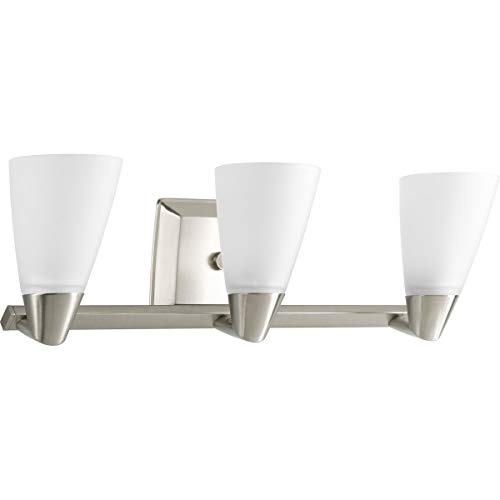 Progress Lighting P2807-09 Rizu Collection 3-Light Vanity Fixture, Brushed Nickel