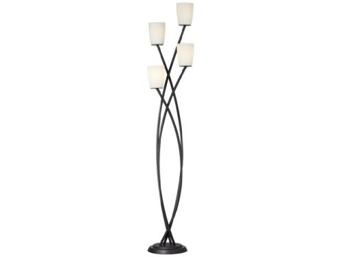- Pacific Coast Lighting 85-2615-07 Metro Crossing 69-Inch Floor Lamp with Black Finish and White Glass Shades