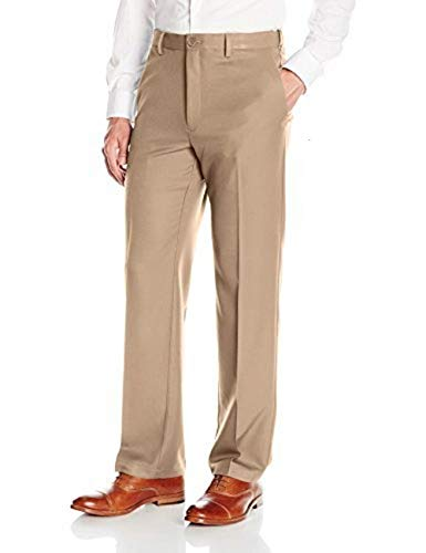 Haggar Men's Cool 18 PRO Classic Fit Flat Front Expandable Waist Pant, Khaki, 38Wx29L