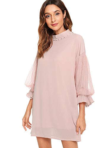 - Verdusa Women's Elegant Beaded Mock Neck 3/4 Sleeve Chiffon Tunic Dress Pink M