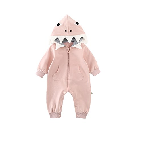Fairy Baby Toddler Baby Boys Girls Cartoon Shark Cute Hooded Romper Kids Zip Jumpsuit Size 3-6M (Pink)