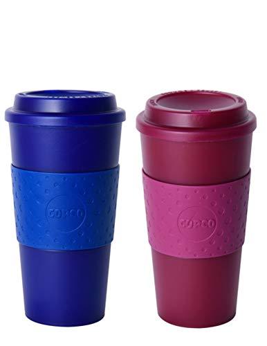 Copco Acadia Double Wall Insulated 16 oz Travel To Go Mug with Non-Slip Sleeve, Set of 2, Commuter Friendly, Drink On the Go (Translucent Navy/Translucent Marsala Red)