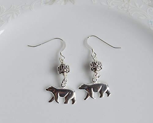 - Polar Bear Sterling Silver Bali Bead Dangle Earrings
