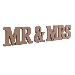 Mr Mrs Wooden Letters Wedding Standing Sign Decor Top Table Centerpiece