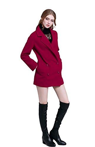 UNIBEAUTY El nuevo estilo de vestir exteriores del escudo abrigo de las mujeres Dark Red