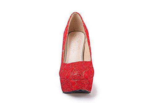 VogueZone009 Damen Rein Blend-Materialien Hoher Absatz Rund Ziehen auf Zehe Pumps Schuhe Rot
