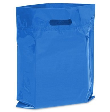NEW - Extra Thick 1.5mil - 50 Glossy Merchandise Bags, Retail Shopping Bags, 12' X 15' with Die Cut Reinforced 3' Fold Over Handle, No Gusset (Orange) 12 X 15 with Die Cut Reinforced 3 Fold Over Handle Brilliant Bag Co