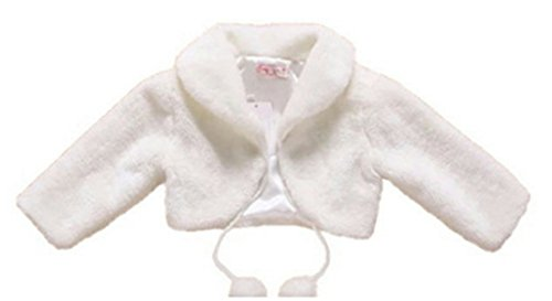 H.X Little Girl's Long Sleeve Faux Fur Jacket Coat Wedding Bridesmaid Birthday Party Capes 2 to 10 (4 years, White) by HX