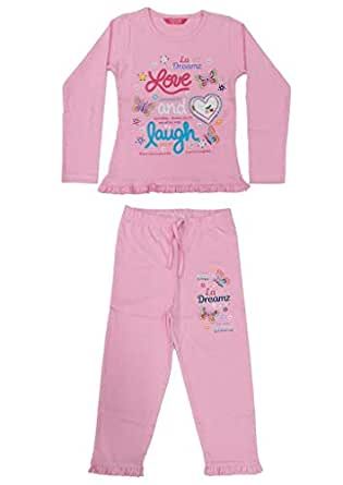 Flower Girl Girls Full sleeve Pyjama Set,Light Pink