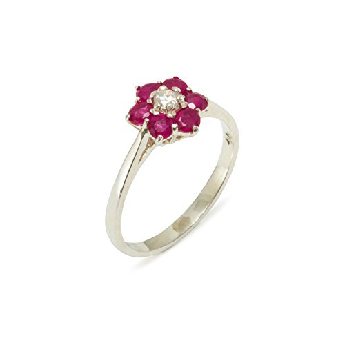 925 Sterling Silver Real Genuine Diamond & Ruby Womens Cluster Engagement Ring (0.06 cttw, H-I Color, I2-I3 Clarity) - Size 6
