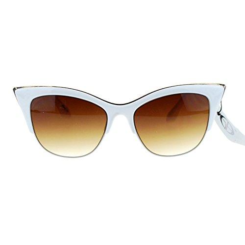 SA106¨ Womens High Point Squared Half Rim Look Cat Eye Sunglasses - Sunglasses Cateye White