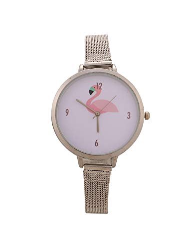 MYEDO Women Slim Alloy Band Pink Animal Pattern Dial Analog Quartz Wrist Watch Jewelry (Silver) (Pink Jewelry Dial)