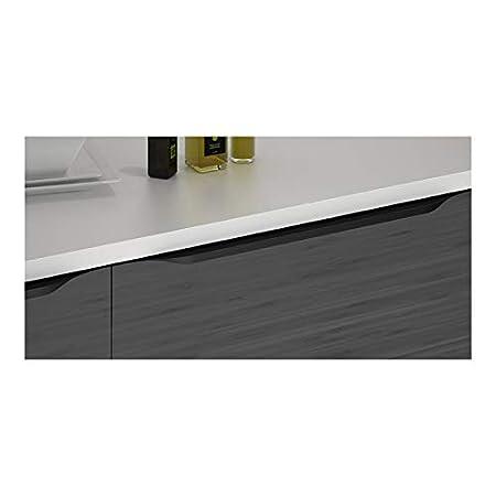 Longueur:297 mm Poign/ée de meuble sur chant en aluminium noir ITAR