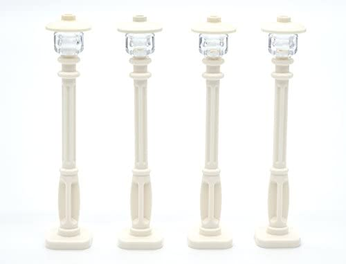 LEGO Street Light Set of 4 – White Post with Clear Bulb White Cover