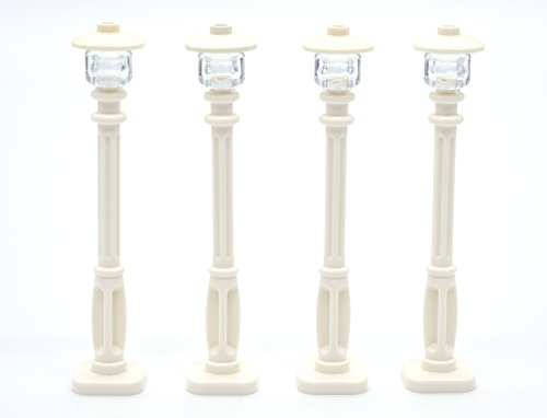 LEGO Street Light Set of 4 - White Post with Clear Bulb & White Cover
