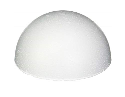 8 Inch Half Round Foam Styrofoam Polystyrene Ball - Painting Drawing Wedding DIY Modelling Craft (4) ()