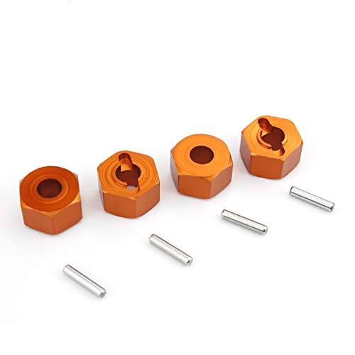 (Hosim 12MM Aluminum Hex Wheel, Thick 7mm Hub Mount with 2x10mm Pins for 1:10 Traxxas Slash 4x4 & HQ 727 RC Cars Replacement Upgrade Parts Orange - Set of 4)