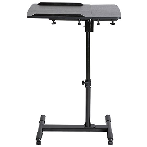DOEWORKS Laptop Table Height Adjustable Bedside Laptop Desk,Moveable Notebook Stand,Black
