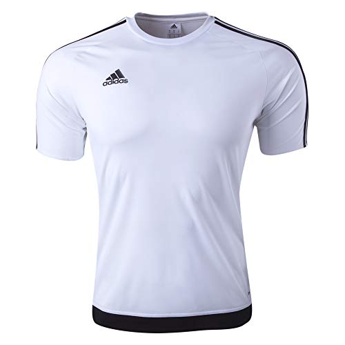 adidas Youth Soccer Estro Jersey, White/Black, Medium