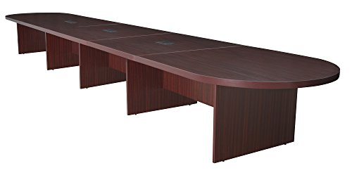 - Regency Legacy 240-inch Modular Racetrack Conference Table with 3 Power Data Grommets- Mahogany