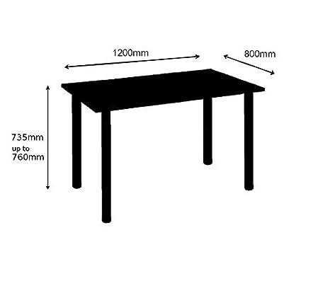 Moderix - Mesa de Comedor para Ordenador (Patas cromadas, 120 x 80 ...