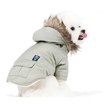 PetBoBo Cat Dog Doggie Down Jacket Hoodie Coat Pet Clothes Warm Clothing for Small Dogs Winter Beige M
