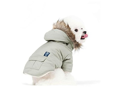 PetBoBo Cat Dog Doggie Down Jacket Hoodie Coat Pet Clothes Warm Clothing for Small Dogs Winter Beige L