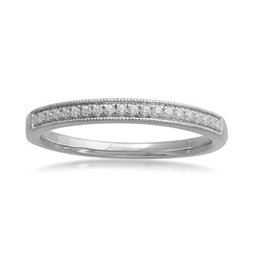 10k White Gold Diamond Milgrain Stackable Wedding Band Ring (1/5 cttw, H-I Color, I2-I3 Clarity)