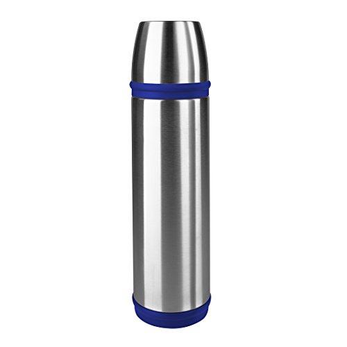 Emsa 502474 Isolierflasche, Mobil genießen, 1 l, Schraubverschluss, Edelstahl/Blau, Captain