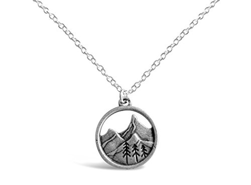 Rosa Vila 3D Mountain Range Necklace, Mountains Nature Necklace, Ideal Outdoorsy Gifts for Women, Forest Tree Gifts for Nature Lovers (Silver Tone)