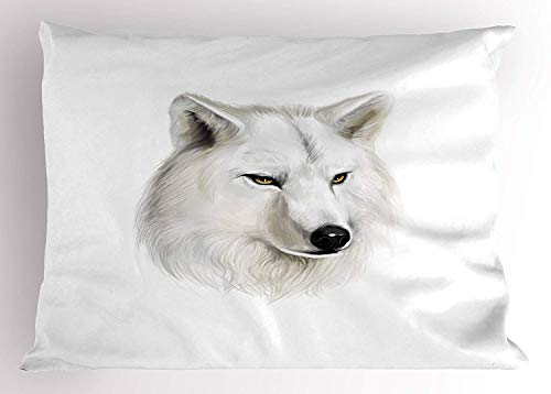 Emiqlandg Wolf Pillow Sham, White Canine Head with Great Detail Hunter Mammal Wildlife Nature Scene Art, Decorative Standard Queen Size Printed Pillowcase, 30 X 20 inches, Black Beige Yellow (Wolf Throw Uk Fur Faux)