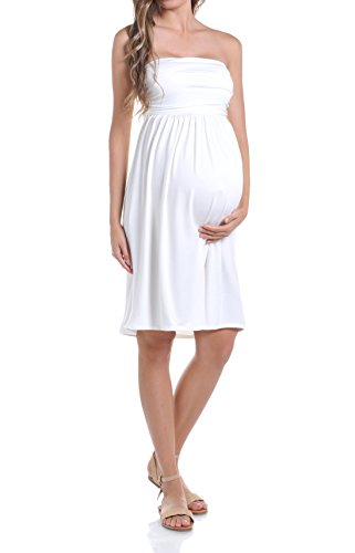 Beachcoco Women's Maternity Comfortable Knee Length Tube Dress (L, Off White)