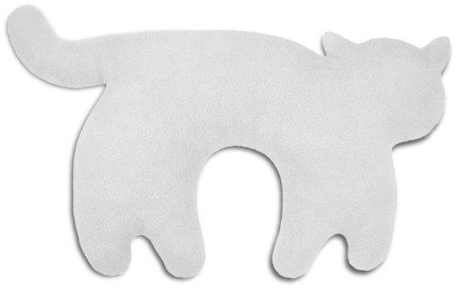 Leschi REISEKISSEN für erholsamen Schlaf in Auto, Flugzeug und Camping-Bett/Reisegeschenk für Kinder und Erwachsene/waschbares Nackenkissen/Katze Feline, grau schwarz