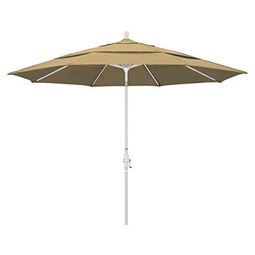 California Umbrella 11' Round Aluminum Market Umbrella, Crank Lift, Collar Tilt