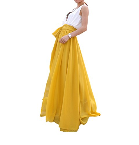 Melansay Beatiful Bow Tie Summer Beach Chiffon High Waist Maxi Skirt XL,Mustard Yellow