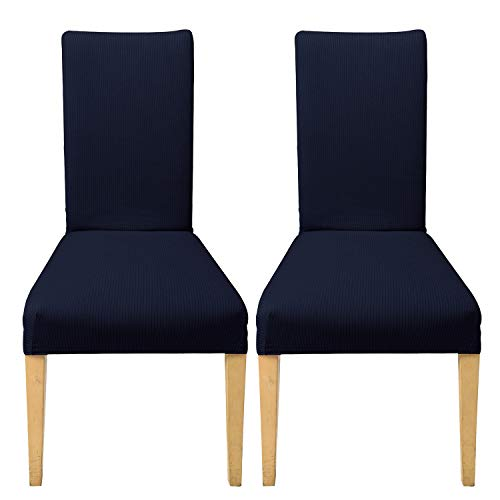 HAOCOO Striped Stretch Chair Covers 2-Piece Parson Chair Slipcover Soft Polyester Spandex Fabric Furniture Protector for Dining Room, Hotel, Banquet, Ceremony(Navy)