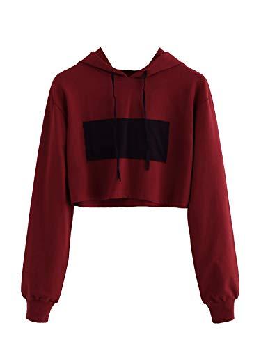 (MAKEMECHIC Women's Long Sleeve Patch Sweatshirt Crop Top Hoodies Red L )