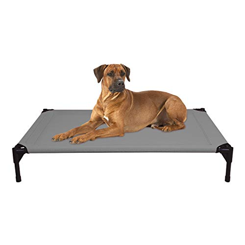 Veehoo Cooling Elevated Dog Bed for Summer, Portable Raised Pet Cot, Waterproof Breathable Mat, Durable Textilene Mesh Fabric, No-Slip Feet, Indoor or Outdoor Use